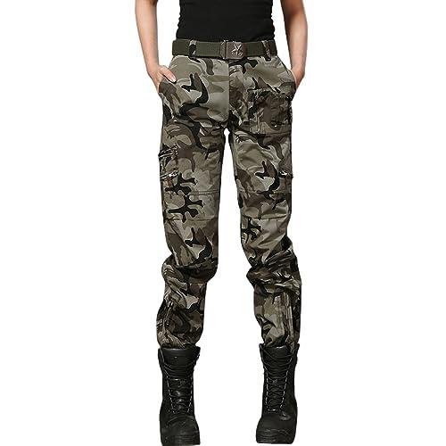 5cdd2ea3c93d7 chouyatou Women s Military Straight Fit Stylish Combat Cargo Slacks Pants