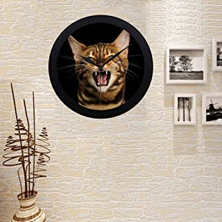 Kitchen Wall Clock Decorative Custom COLORSFORU Portrait Angry Bengal Cat Meowing On Elegant Black Decorative Silver Wall Clock for Office Home Living Room Girls Room Wall Clock