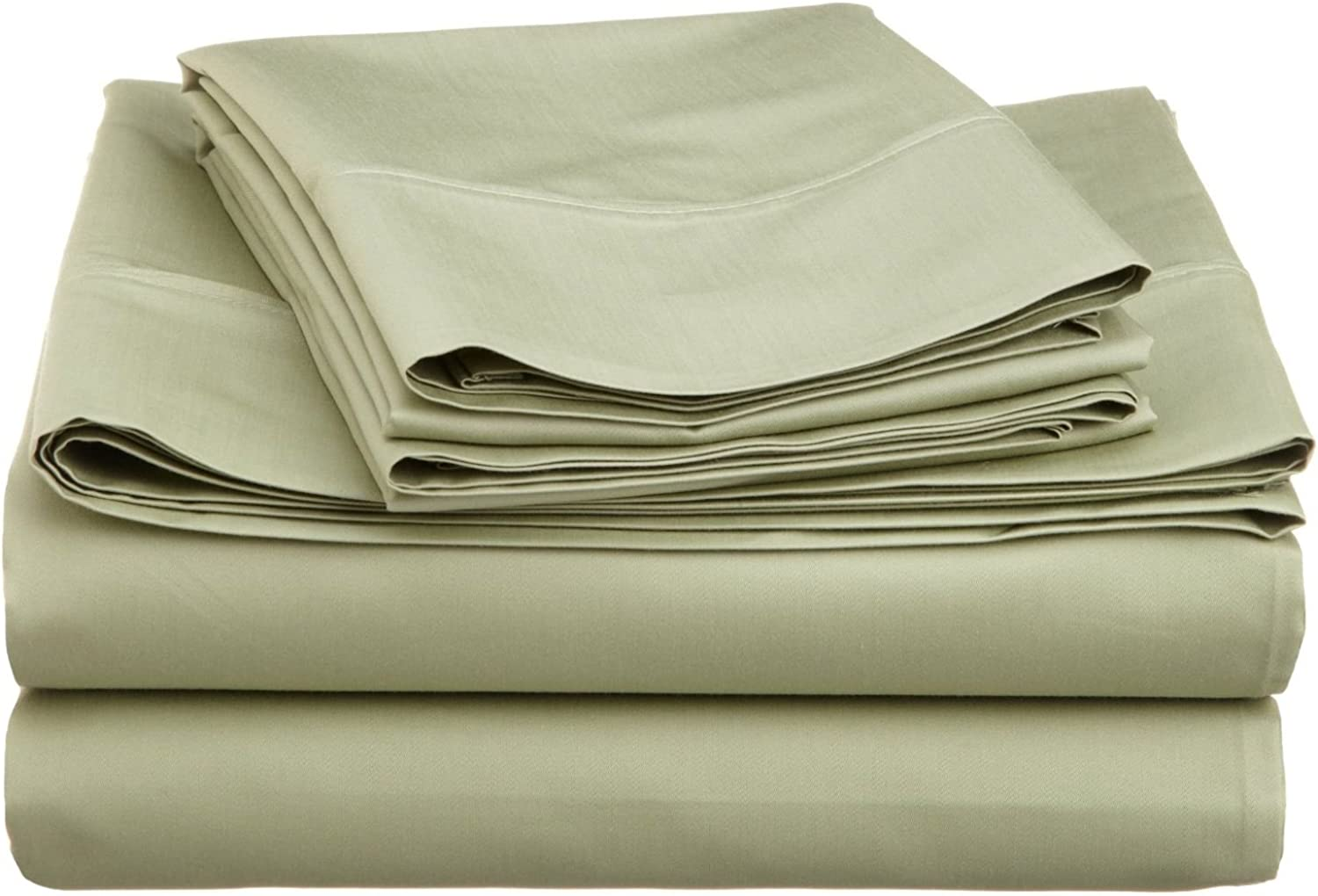 Cotton Blend 600 Thread Count , Deep Pocket, Soft, Wrinkle Resistant 3-Piece Twin XL Bed Sheet Set, Solid Sage