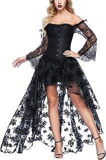 Mujer Conjunto de Corsé Gótico Fiesta Corset Hueso Bustier con Falda Dos Piezas Carnaval Steampunk Corset Disfraz Sexy Vestido