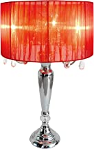 Elegant Designs LT1034-RED Trendy Sheer Table Lamp with Hanging Crystals and Sheer Shade, 16.54