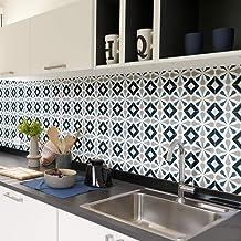 Tegelstickers, zelfklevend, cementtegels, wanddecoratie, wandstickers, tegelstickers, voor badkamer en keuken, 15 x 15 cm,...