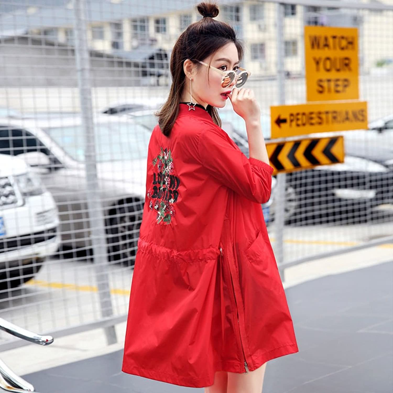 XRXY Summer Seven Sleeves Long Section Sun Predection Clothing Female Embroidery Loose Cardigan Go Out Thin Windbreaker Office Air Conditioning Shawl (3 colors Available)