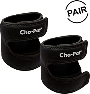 """Cho-Pat Dual Action Knee Strap (Pair) – Provides Full Mobility & Pain Relief for Weakened Knees – Black (Large, 16""""-18"""")"""