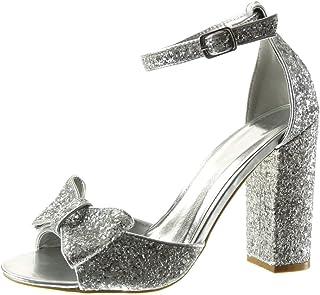 Angkorly - Chaussure Mode Sandale Escarpin Sexy Femme Noeud Papillon Pailettes lanière Talon Haut Bloc 11 CM