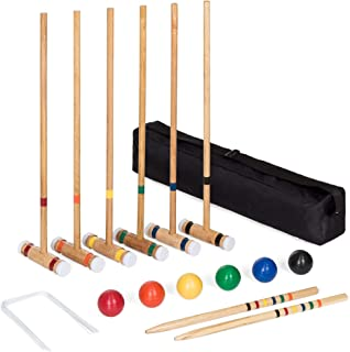 Best Choice Products 6-Player 32in Yard Classic Wood Croquet Sport Game Set w/ 6 Mallets,..
