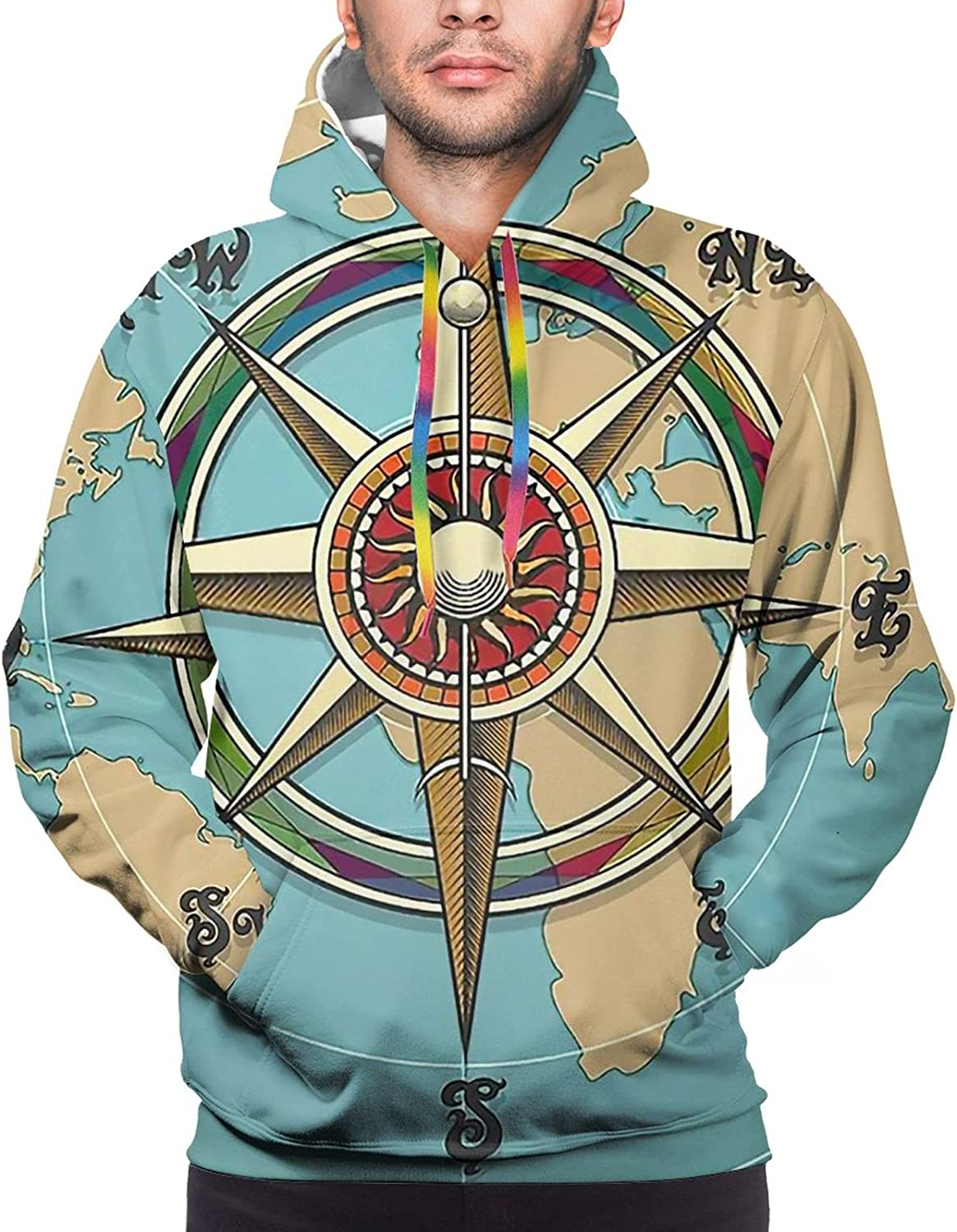 Hoodie For Teens Boys Girls Compass And World Map Hoodies Pullover Sweatshirt Pockets