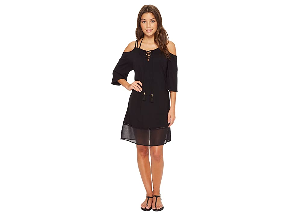 Tommy Bahama Cotton Modal Cold-Shoulder Dress Cover-Up (Black) Women