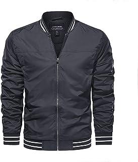 KEFITEVD Men's Spring Summer Lightweight Sports Jacket Casual Thin Baseball Track Jackets Bomber Coats with Pockets