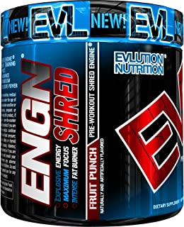 Evlution Nutrition ENGN Shred Pre Workout Thermogenic Fat Burner Powder, Energy, Weight Loss, 30 Servings (Fruit Punch)