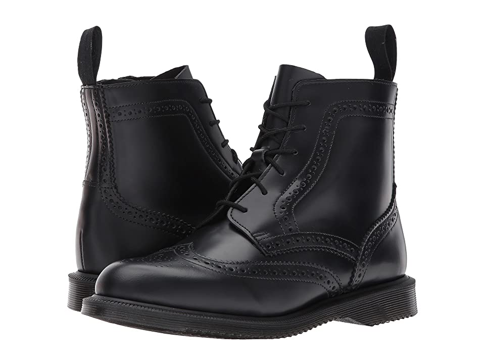 Dr. Martens Delphine 6-Eye Brogue Boot (Black Polished Smooth) Women