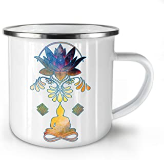 Indian Yoga Enamel Mug, Budha Infinity Cup - Strong, Easy-Grip Handle, Two Side Print, Ideal for Camping & Outdoors By Wellcoda