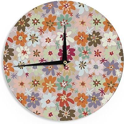 Kess InHouse Jane Smith Indian Jewelry Repeat Tan Pink Wall Clock 12