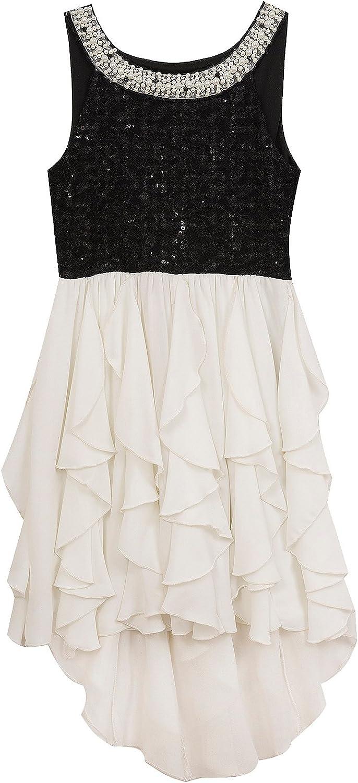 Rare Editions Big Girls' Black to Off White Cascade Social Dress (12)