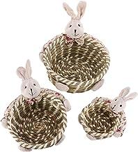 KESYOO 3pcs Easter Basket Gift Basket Handmade Wicker Basket Bunny Rabbit Decoration Office Bedroom Closet Toys