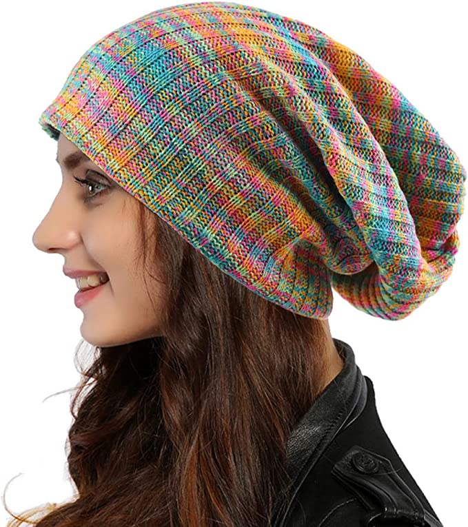 Hippie Hats,  70s Hats Ruphedy Women Oversized Slouchy Beanie Knit Hat Colorful Long Baggy Skull Cap for Winter  AT vintagedancer.com