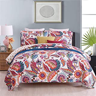 HoneiLife Reversible Bedspread Quilt Set - 3 Piece Cotton Patchwork Coverlet Set, All-Season Bedspread with Colorful Pattern,Queen Size