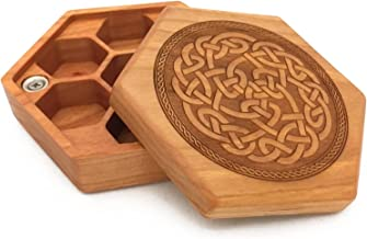 Pocket Sized Hex Dice Wood Chest with Magnetic Lid - Perfect for DnD, Magic the Gathering Dice Counters and Any Other Tabletop Games by Elderwood Academy (Cherry/Celtic)