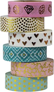 UOOOM 6 Rouleaux Washi Tape Ruban Adhésif Papier Décoratif Masking Tape Scrapbooking