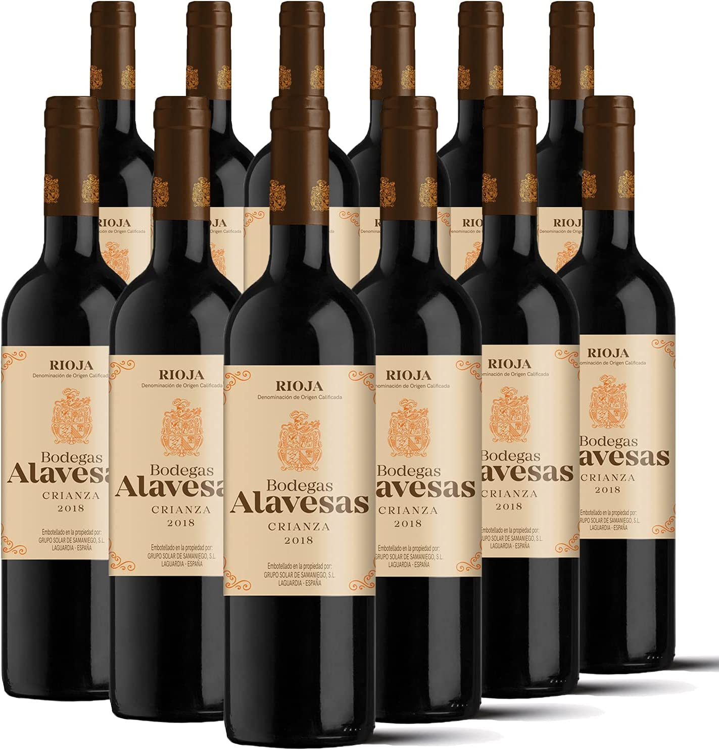 Bodegas Alavesas – Vino Tinto Crianza 2018 Denominación de Origen Calificada Rioja, Variedad Tempranillo, 12 meses en barrica – Caja de 12 botellas x 750 ml – Total: 9000 ml