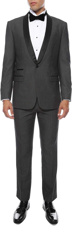 Ferrecci Men's Reno Slim Fit Shawl Lapel Collar 2 Piece Tuxedo Suit Set - Tux Blazer Jacket and Pants
