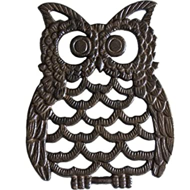 Cast Iron Owl Trivet - Decorative Trivet For Kitchen Counter or Dining Table Vintage, Rustic, Artisan Design - 7.75X6  - With Rubber Pegs/Feet - Recycled Metal