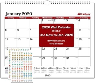 Wall Calendar 2020 (Red) 15x11.5 Inch Monthly Large Wall Calendar, Big Hanging Calendar, 19 Month, from June 2019 to December 2020, with Stickers for Monthly Wall Calendar 2020
