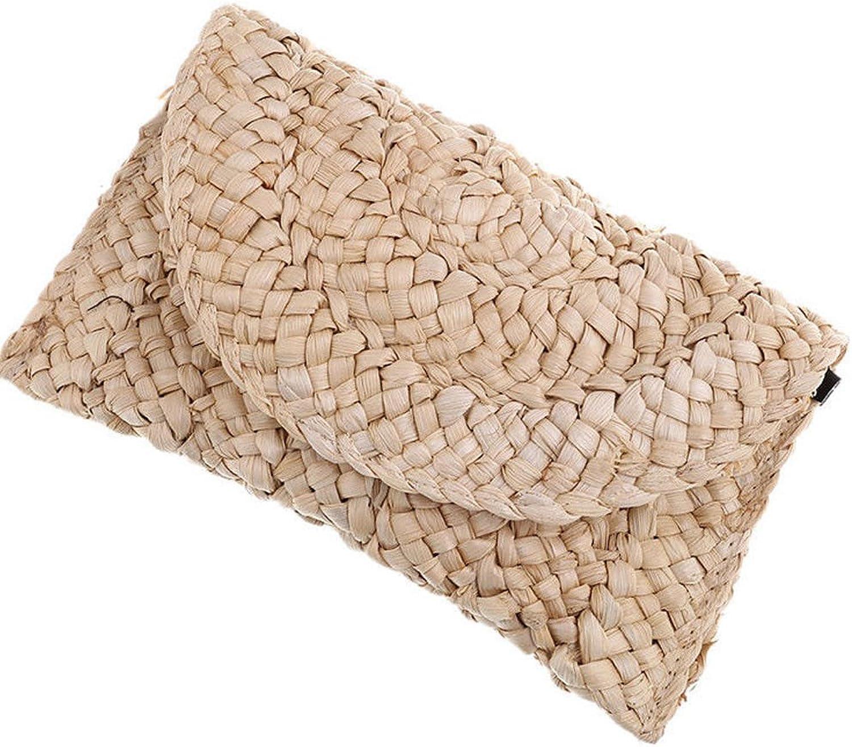 ASHIJIN Straw Handbag for Women New Hand Bag Fashion Womens Handmade Rattan Bag Peel Corn Woven Summer Casual Beach Pocket