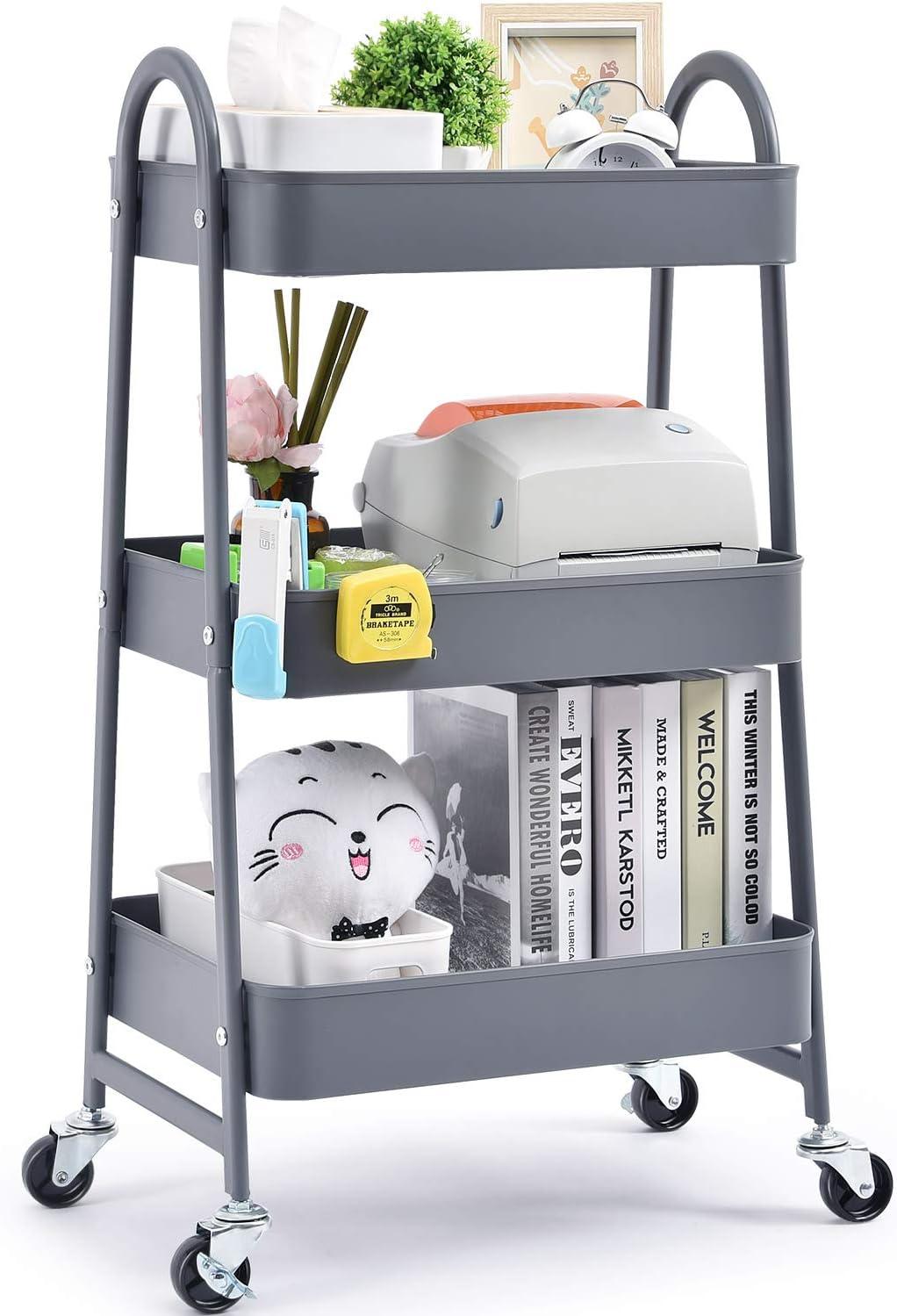 Carrito de almacenamiento Kingrack, carro de almacenamiento, carro de 3 niveles con gran almacenamiento y ruedas de metal para oficina, cocina, dormitorio, baño