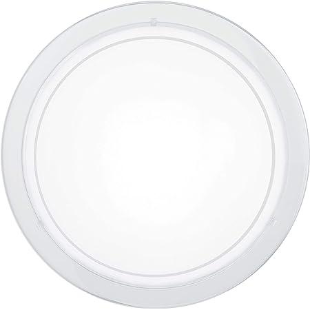EGLO Lampe de Plafond Planet 1, 1 Applique Murale à Flamme, Plafonnier en Acier, Couleur : Blanc, Verre : Blanc Laqué, Douille : E27