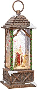RAZ Imports Traditional Santa Lighted Water Lantern 10.75 Inch Lighted Christmas Snow Globe with Swirling Glitter with Deer Owl Cardinals Battery Operated and USB Powered