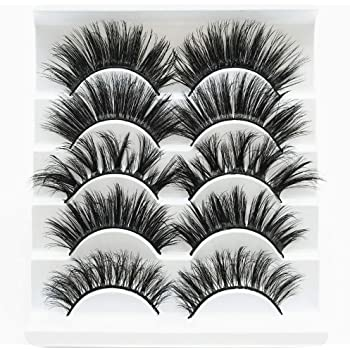 5 Pairs Faux 3D Mink Lashes Multipack,False Eyelashes Natural Soft False Eyelashes Pack for Makeup Eyelashes Extension