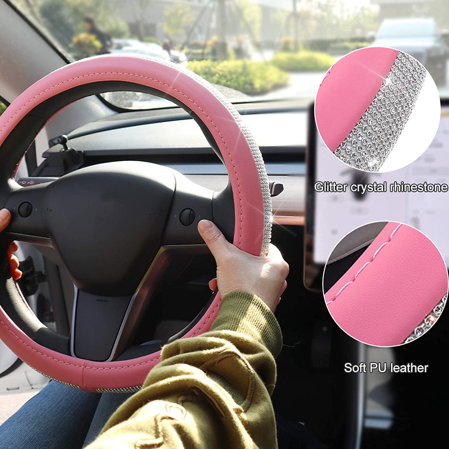Pink Vacallity Diamond Leather Steering Wheel Cover Universal Fit 15 Inch with Bling Bling Crystal Rhinestones for Women and Girls Car Accessories