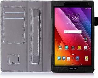 ISIN Funda para Tablet Serie Funda de Premium PU con Stand Función para ASUS Zenpad 8 de 8,0 pulgadas WIFI 4G LTE Z380C Z380KL Z380M Android Tablet con Velcro Correa para la Mano y Ranuras para Tarjetas (Negro)