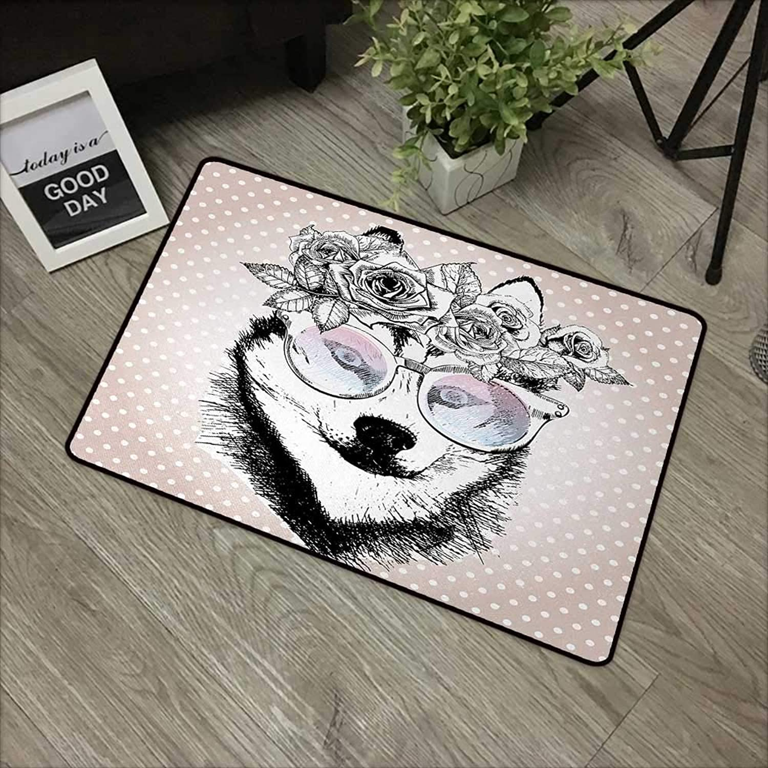 Bathroom Anti-Slip Door mat W35 x L59 INCH Alaskan Malamute,Vintage Polka Dots and Dog Wearing Floral Wreath and Sunglasses,pink gold Black White Easy to Clean, Easy to fold,Non-Slip Door Mat Carpet