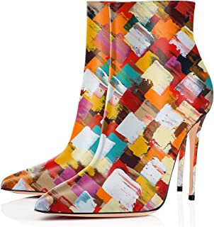 YCG Women's High Heels Music Note Printed Ankle Winter Boots Wedding&Party Pleather Shoes