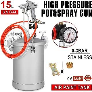 VEVOR Paint Tank 15L Pressure Pot Paint Sprayer 4 Gallon Pressure Spray Gun with 3.5mm Nozzle Regulator Industrial Painting Painter (15L 3.5mm)