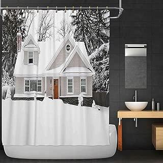 C COABALLA Winter Snow Craftman Cape Cod Style Home Fabric Shower Curtain,106647 for Bathroom,36''W x 72''H