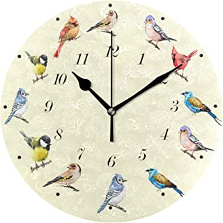 Wamika Cute Birds Cartoon Animal Wall Clock Battery Operated Non Ticking Silent Round Acrylic Cardinal Hummingbird Bird Quartz Decorative Clocks for Home Office Kitchen School Easy to Read