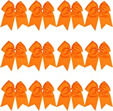 8 Inch Jumbo Cheerleader Bows Ponytail Holder Cheerleading Bows Hair Tie More Colors Available (Orange)