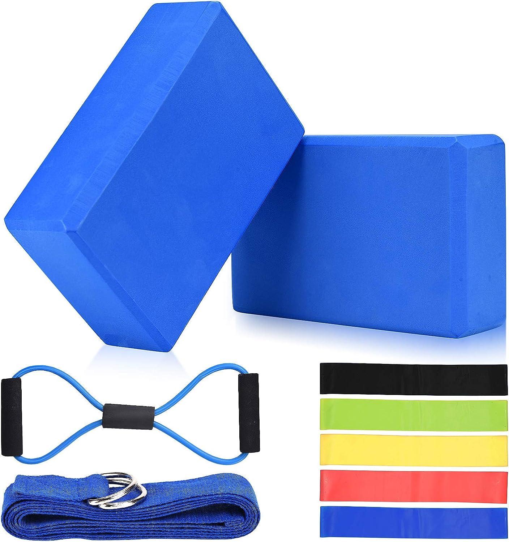FSWSHSF Yoga Block El Paso Mall 2 Pack with Strap free shipping Foam Density High EVA