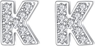 925 Sterling Silver Pave Cubic Zirconia Fashion Initial Alphabet Letter Stud Earrings Clear