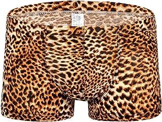 Men's Fashion Boxer Briefs Sexy Leopard Print Underwear Shorts Underpants