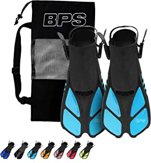 BPS Short-Blade Adjustable Swim Fins/Flippers for Swimming, Diving, and Snorkeling (Open-Toe and Open-Heel Design)