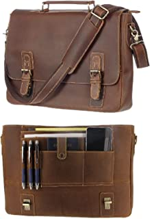 "Leather Messenger Bag For Men RFID Satchel Briefcases w/Wallet, Computer Bag 17"" Laptop (16"" Distressed Hunter)"