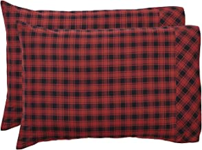 VHC Brands Rustic & Lodge Bedding-Cumberland Red, Cotton, Pillow Case Set, Standard (20 x 30 inches), Chili Pepper
