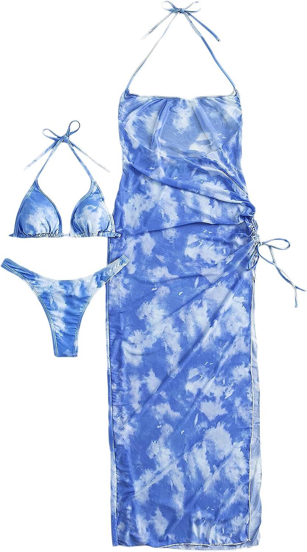 SheIn Women's 3 Piece Tie Dye Halter Triangle Bikini Set Swimsuit Bathing Suit with Cover Up Dress