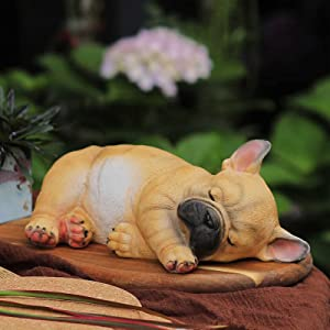 """Outdoor Patio Garden Sculpture-Statue Decor - Cute French Bulldog Puppy Statue Pet Memorial Figurine Gift, Lying Sleeping Frenchie for Indoor Outdoor Porch Yard Lawn Decoration (10.4""""Sleeping A)"""