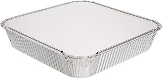 Pack de 10 moldes cuadrados desechables de aluminio con tapa ~ bandejas de aluminio con tapa ~ Buenas para hornear, cocinar, almacenar y congelar ~ 23 cm x 23 cm (9 pulgadas x 9 pulgadas)