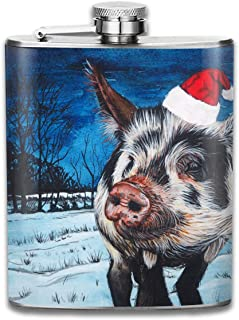 Steel Stainless Flask,Cute Watercolor Pig Pocket Funnel,Screwed Top Liquor Alcohol Whiskey Spirits Hip for Men,7 OZ